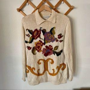 Vintage Evan Picone Floral Cream Hand Knit Sweater